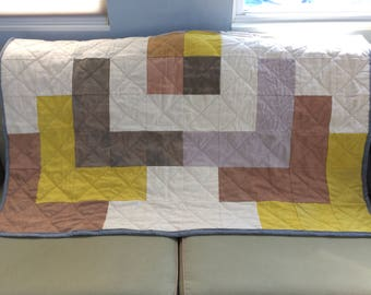 One of a kind hand-dyed throw quilt
