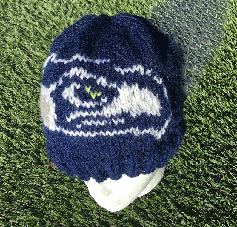 Seattle Seahawks Logo Knitted Beanie Hat Ribbed Brim Adult image 0