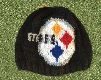 Pittsburgh Steelers Logo Beanie Hat PATTERN - Ribbed Brim Intarsia Knit in Rows