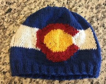 Colorado Flag Beanie Hat PATTERN - CO Flag Pattern with chart and written instructions