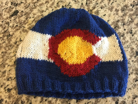 Colorado Flag Beanie Hat PATTERN CO Flag Pattern with chart  840710295