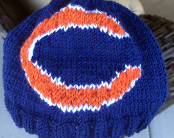 Chicago Bears Logo Beanie Hat PATTERN - Ribbed Brim Intarsia Knit in Rows