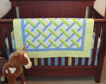 Quilt Green and Blue Lattice Baby Boy or Girl Crib Quilt