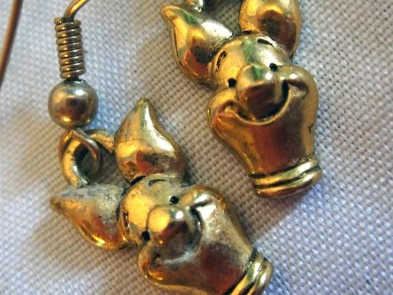 Vintage Winnie The Pooh Earrings Bronze