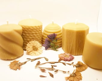 Beeswax Candles - Set of 5 Mini Pillars (EACH BURNS For 20 HOURS)