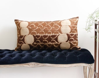 Vintage Large Uzbek Suzani Hand Made Hand Embroidered Brown Maroon Pillowcase Cotton & Linen Pillowcase - Mid Century