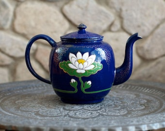 Vintage Large Blue Lotus Enamel Teapot - 1940's