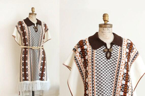 Vintage Knit Woven Fringe Cape Poncho Boho Hippie
