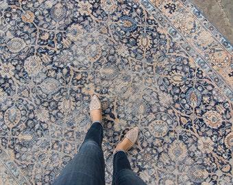 """ON HOLD (Elizabeth L 10/8/21)Vintage 7'4"""" x 10'1"""" Large Rug Allover Botanical Design Indigo Blue Copper/Bronze Wool Hand-Knotted Rug 1930s"""