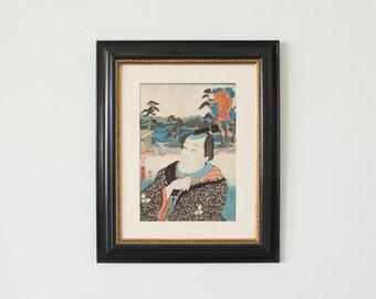 Vintage Signed Original Japanese Warrior Woodblock Print