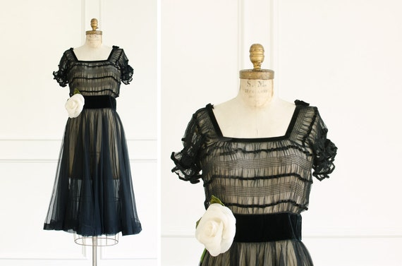 Vintage Couture Silk Tulle Black Cocktail Dress -
