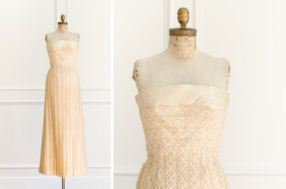 Vintage Strapless Braided Long 50's Evening Gown