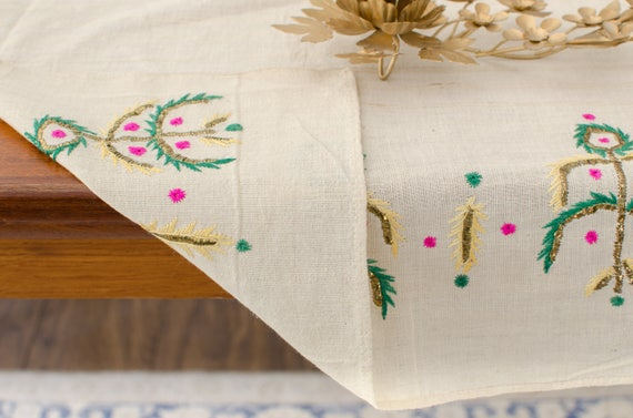 1900/'s Antique Ottoman Greek Hand-Embroidered Floral Silk Metallic Thread Linen Table Runner Dowry Towel