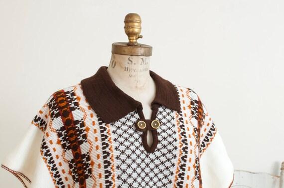 Vintage Knit Woven Fringe Cape Poncho Boho Hippie… - image 5