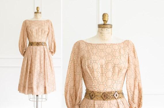 Vintage Silk Organza / Linen Dress - Mid Century