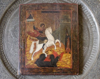 Antique Egg Tempera Hand Painted Wood Panel Silver Leaf The Miracle of St. George and the Dragon Icon Original Russian Icon - 19th Century