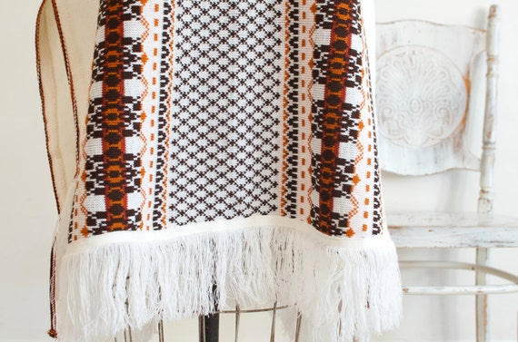 Vintage Knit Woven Fringe Cape Poncho Boho Hippie… - image 4