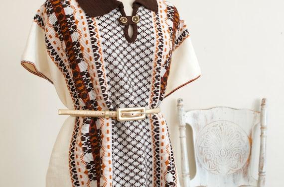 Vintage Knit Woven Fringe Cape Poncho Boho Hippie… - image 3