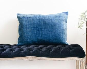 Antique Indigo Hand Woven Rectangle Cotton Wool Pillowcase Early 20th Century