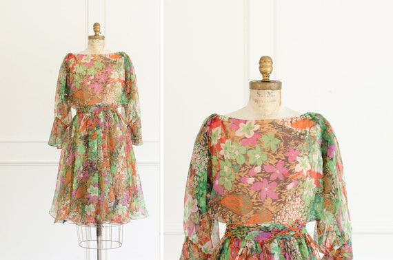 Vintage Floral Chiffon Miss Elliott Sheer Long Sle