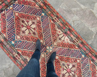 """Antique 4' x 8'1"""" Khotan Rug Salmon Teal Blue Hand Knotted Wool Rug Art Deco 1920s - FREE DOMESTIC SHIPPING"""