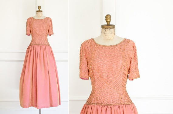 Vintage Formal Gown Luminescent Peach Pink Color B