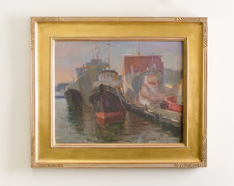 Vintage Framed Original Oil Painting on Canvas of Boats Docking at Harbor by Plein Air Artist Ovanes Berberian Art Wall Hanging