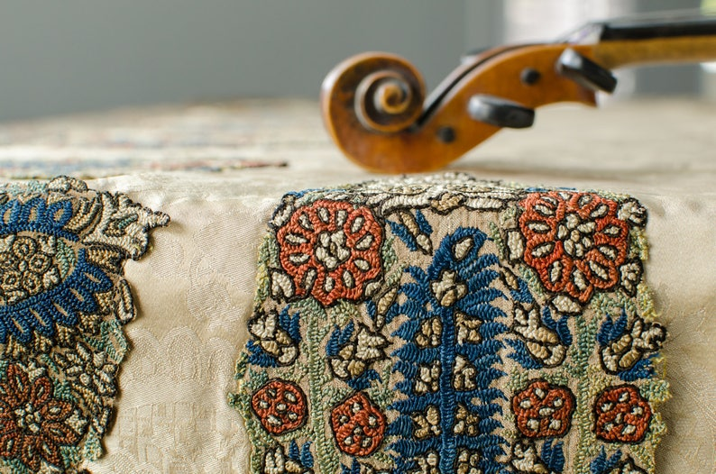 Antique Silk Baby Grand Piano Cover Greek Hand Embroidered Silk Piano Cover  - 1800's