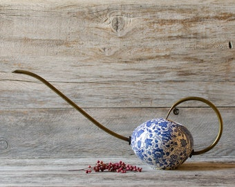Rare Vintage Mod German Waechtersbach Porcelain Brass Planter Watering Can Jug Long Spout - Mid century