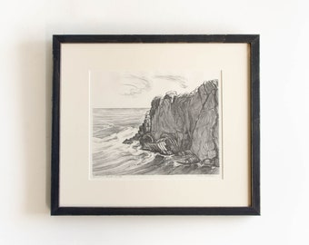 """Antique Etching Limited Edition Original Signed by American Artist Adele Watson 1873 - 1947 Titled """"Ogunquit Point 14/30"""""""