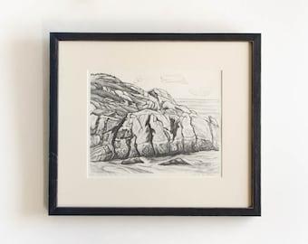 "Antique Etching Limited Edition Original Signed American Artist Adele Watson 1873 - 1947 Titled ""Sea Carmel Rocks"""
