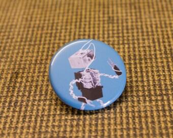 Light Blue Robot Button. 1.25 inch Button. Bot Botton. Nerd. Geek. Engineer
