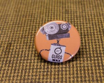 Orange Robot Button. 1.25 inch Button. Bot Botton. Nerd. Geek. Engineer