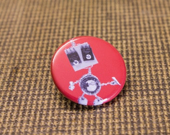 Red Robot Button. 1.25 inch Button. Bot Botton. Nerd. Geek. Engineer