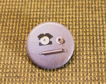 "Spring Emoji Button. 1.25"" Button. Made From Junk Parts. Nerd Accessories. Keyboard Pin. Geekery. Engineer. Programmer."
