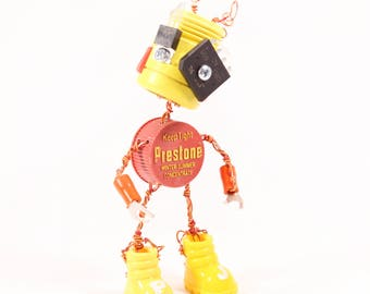 Wyneb, Bot Number: 20171028. Fantasy Art Doll Robot. Hand Crafted Whimsical Figurine. Robotic Techie. Lee Bots