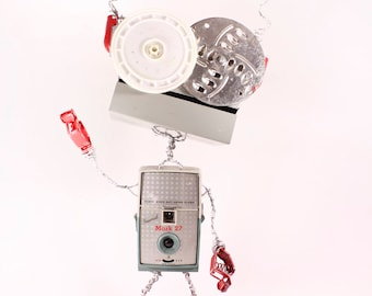 Felic, Bot Number: 2017948. Assemblage Robot Sculpture. Made with Vintage Imperial Mark 27 Camera. Photographer Gift. Lee Bots