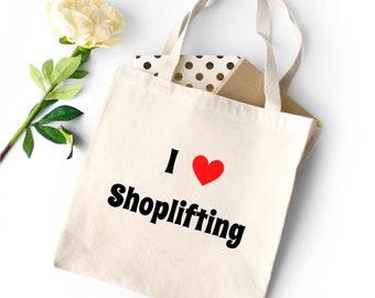 I Heart Shoplifting Tote Bag; Canvas Tote; Funny Totebag; Sarcastic Tote bag; Original Tote Bag; Unique Tote Bag; Humorous Tote Bag