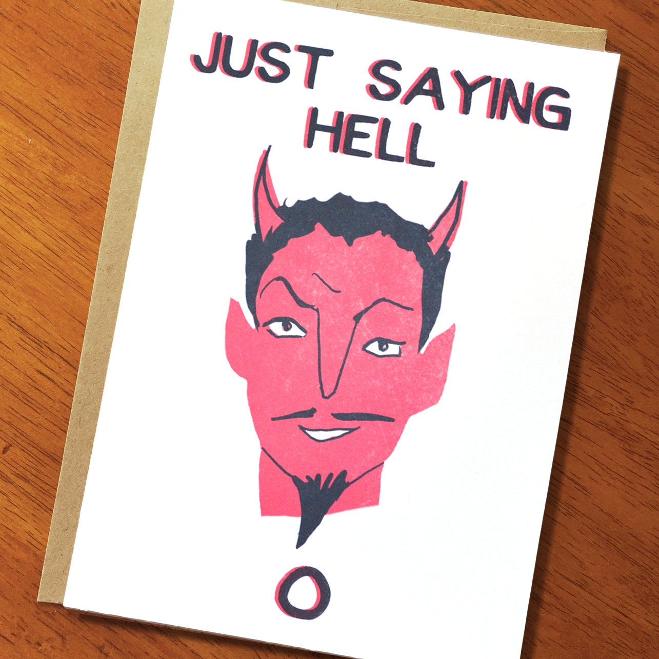 Funny Devil Card Just Saying Hell O Funny Greeting Card Etsy