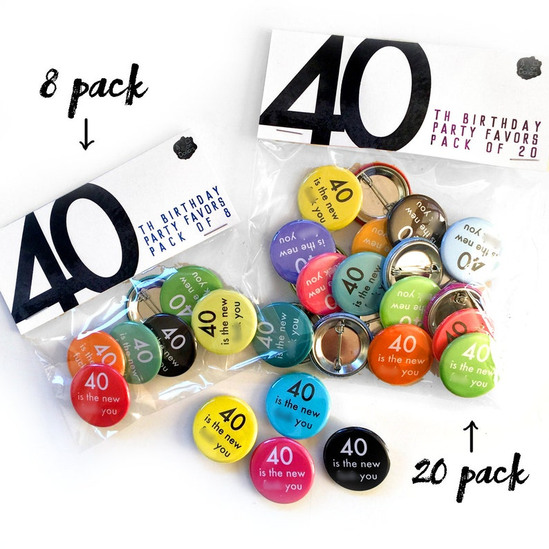 Funny Smart Ass 40th Birthday Party Favor Set; Big set of 20 pins; 40th Birthday Party; 40 is the New F-You; Fortieth for Him; 40th For Her