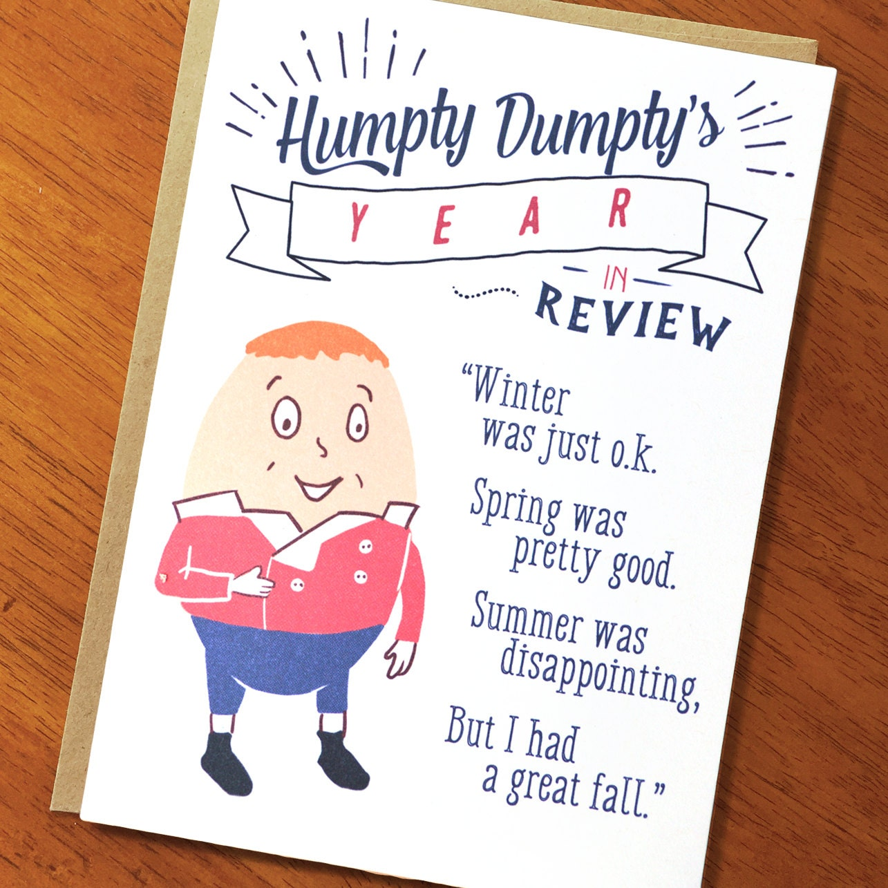 Funny Card Humpty Dumptys Year In Review Funny And Etsy