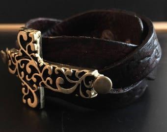 Scroll Cross Braided Bracelet