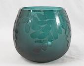 Ken Benson LS Cameo Art Glass 7x8 Leaves Bowl Vase Greenish Blue Signed