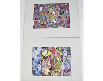 Vintage 1980's Abstract Expressionist 9x12 Painting Pair Colorful Woman