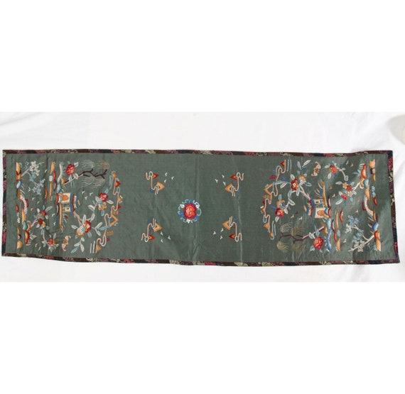 Vintage Green Silk PanelTable Runner