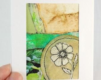 Original Tea Bag Art Collage, ACEO Greeting Card, OOAK