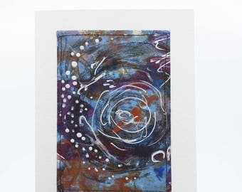 Abstract Encaustic Greeting Card, Hand painted Original  5x7 card