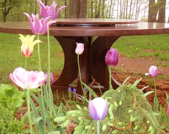 """Tulips & 72"""" Walnut Pedestal Table with Lazy Susan"""