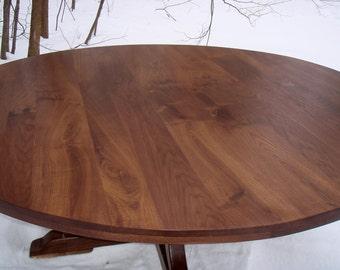 "72"" Walnut Table with Curvy Base -Seats 8"