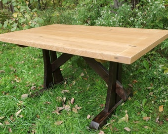 Ready to Ship ! Cherry / Walnut Harvest Table with Decorations (Copyright 2016)